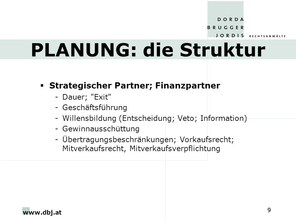 PLANUNG: die Struktur Strategischer Partner; Finanzpartner