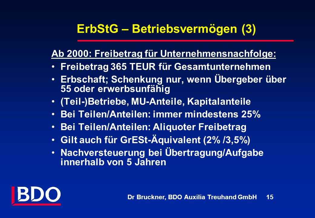 ErbStG – Betriebsvermögen (3)