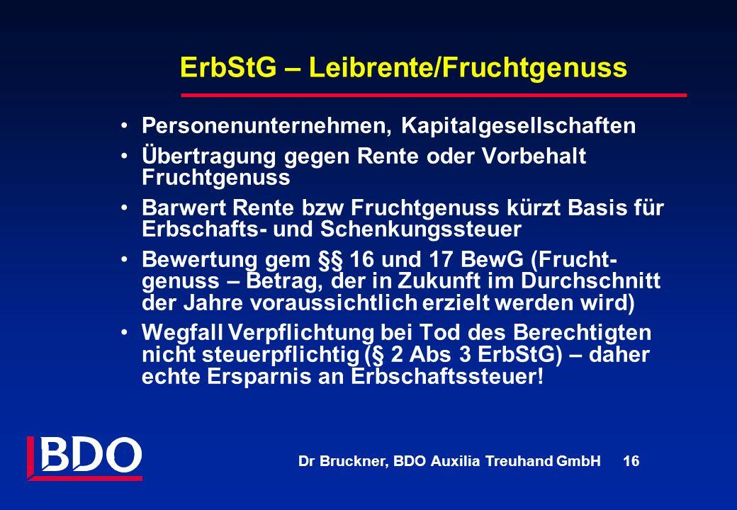 ErbStG – Leibrente/Fruchtgenuss