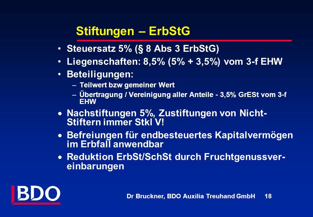Stiftungen – ErbStG Steuersatz 5% (§ 8 Abs 3 ErbStG)