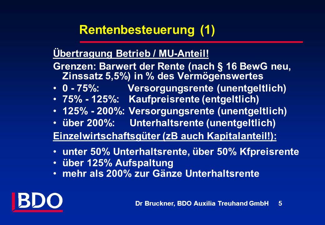 Rentenbesteuerung (1) Übertragung Betrieb / MU-Anteil!