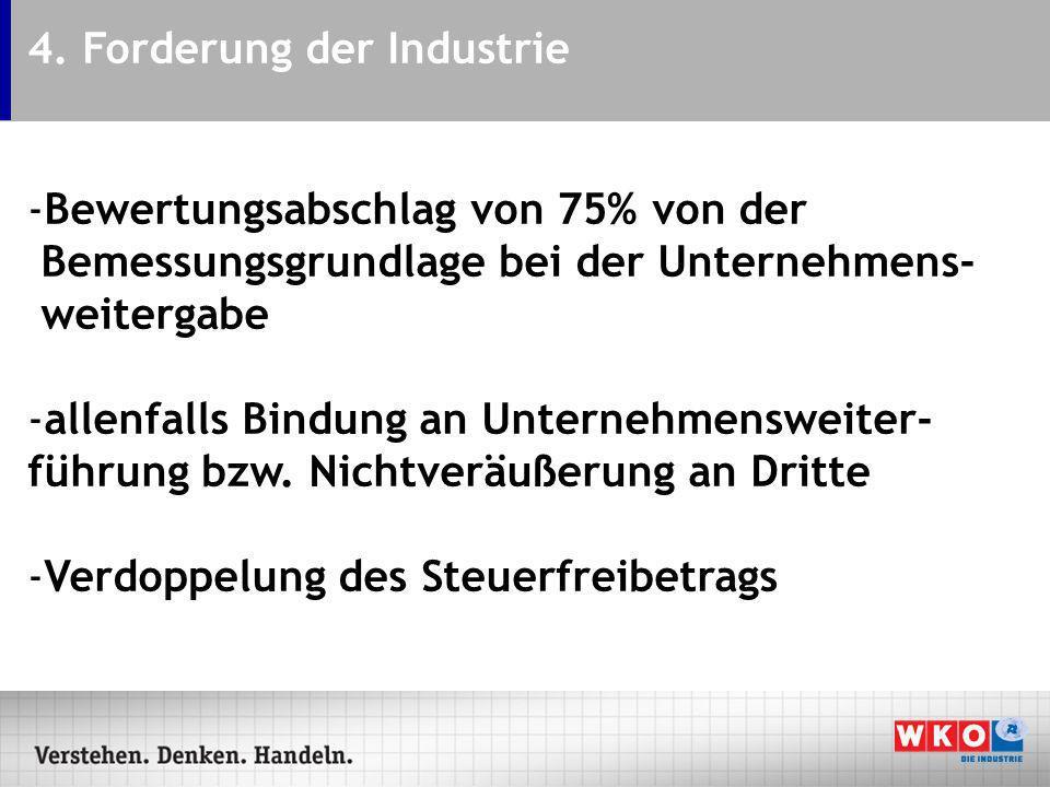 4. Forderung der Industrie