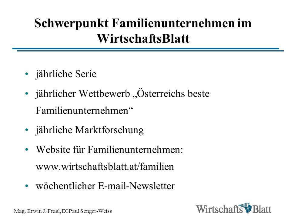 Schwerpunkt Familienunternehmen im WirtschaftsBlatt