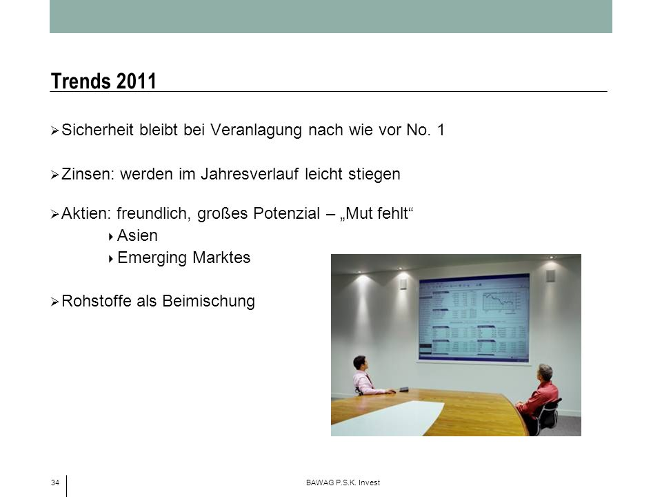 Trends 2011 Sicherheit bleibt bei Veranlagung nach wie vor No. 1