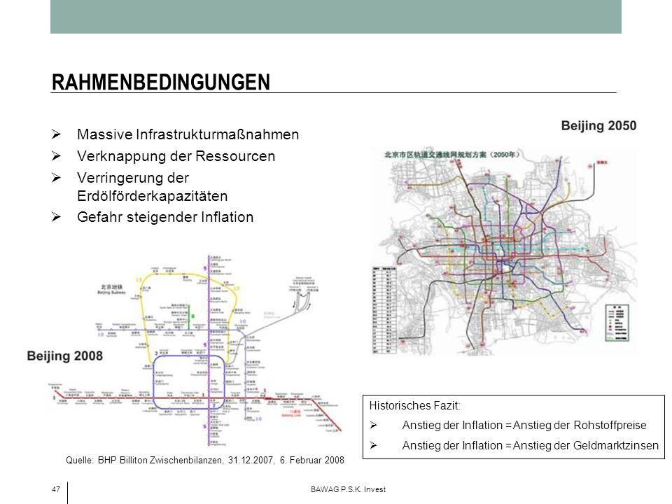 RAHMENBEDINGUNGEN Massive Infrastrukturmaßnahmen