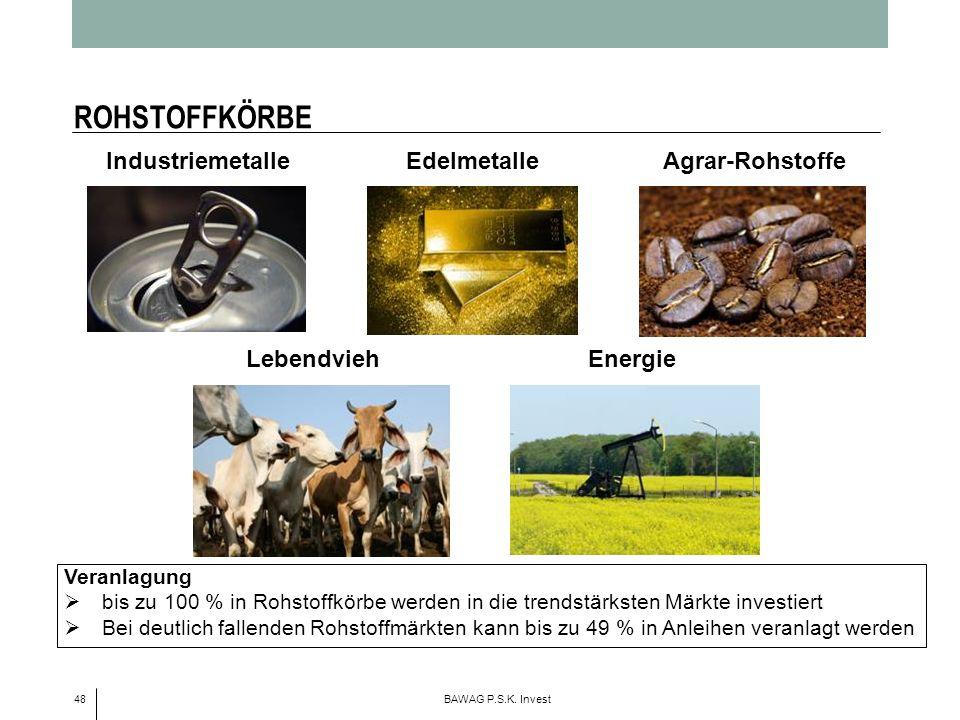 ROHSTOFFKÖRBE Industriemetalle Edelmetalle Agrar-Rohstoffe Lebendvieh