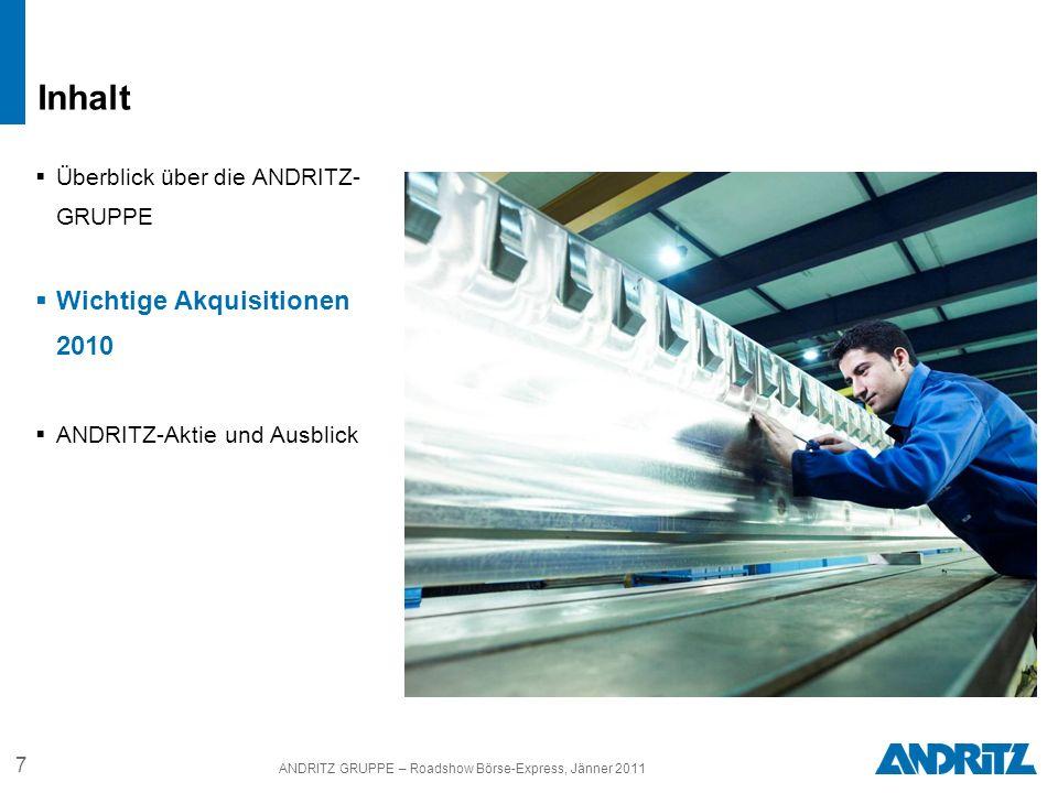 ANDRITZ GRUPPE – Roadshow Börse-Express, Jänner 2011