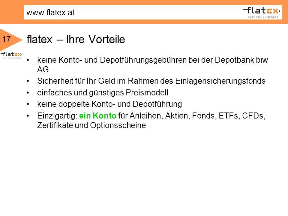 flatex – Ihre Vorteilekeine Konto- und Depotführungsgebühren bei der Depotbank biw AG. Sicherheit für Ihr Geld im Rahmen des Einlagensicherungsfonds.