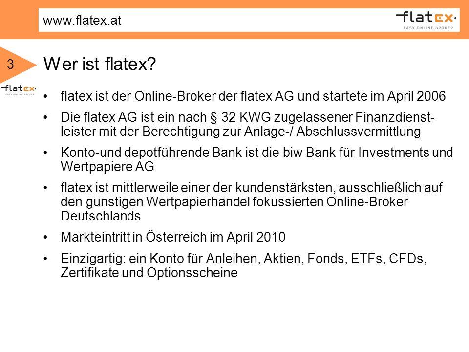 Wer ist flatex flatex ist der Online-Broker der flatex AG und startete im April 2006.