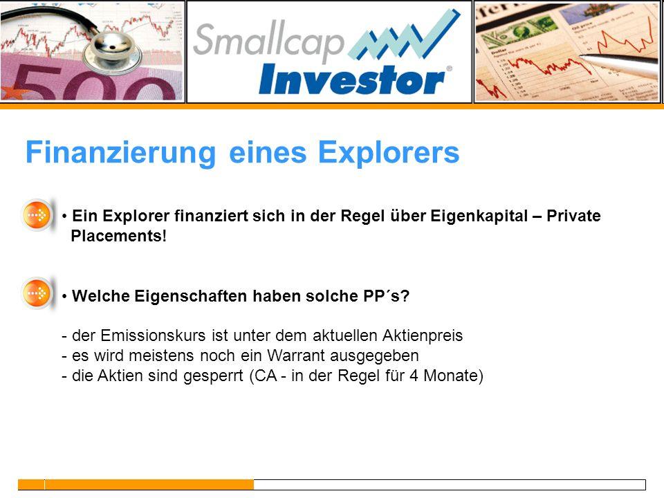 Finanzierung eines Explorers
