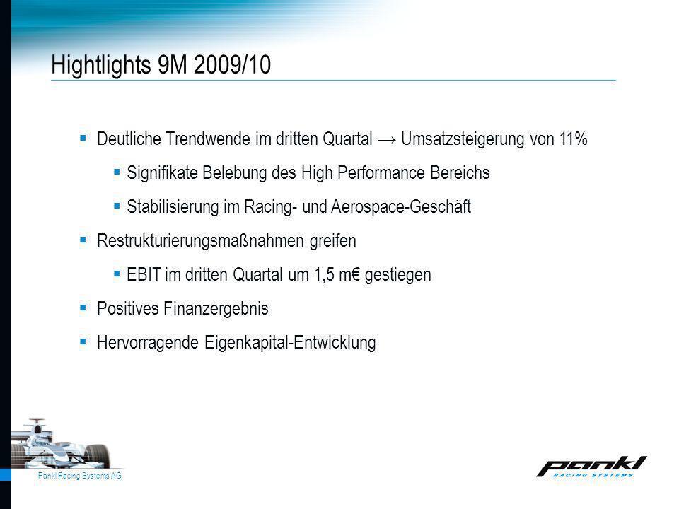 Hightlights 9M 2009/10 Deutliche Trendwende im dritten Quartal → Umsatzsteigerung von 11% Signifikate Belebung des High Performance Bereichs.