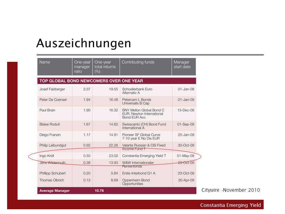 Auszeichnungen Citywire -November 2010 Constantia Emerging Yield