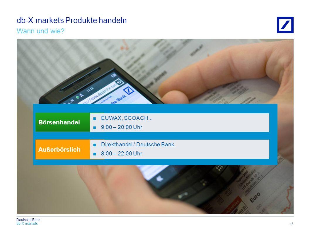 db-X markets Produkte handeln Wann und wie