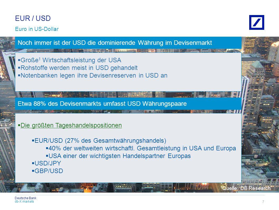 EUR / USD Euro in US-Dollar. Noch immer ist der USD die dominierende Währung im Devisenmarkt. Große1 Wirtschaftsleistung der USA.