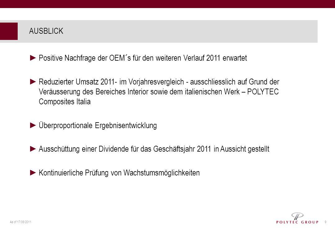 AUSBLICK Positive Nachfrage der OEM´s für den weiteren Verlauf 2011 erwartet.