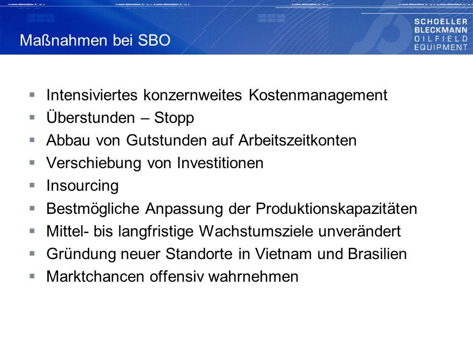 Maßnahmen bei SBO Intensiviertes konzernweites Kostenmanagement. Überstunden – Stopp. Abbau von Gutstunden auf Arbeitszeitkonten.