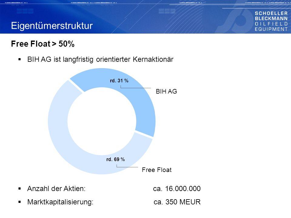 Eigentümerstruktur Free Float > 50%