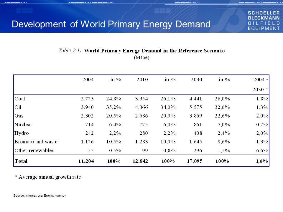 Development of World Primary Energy Demand