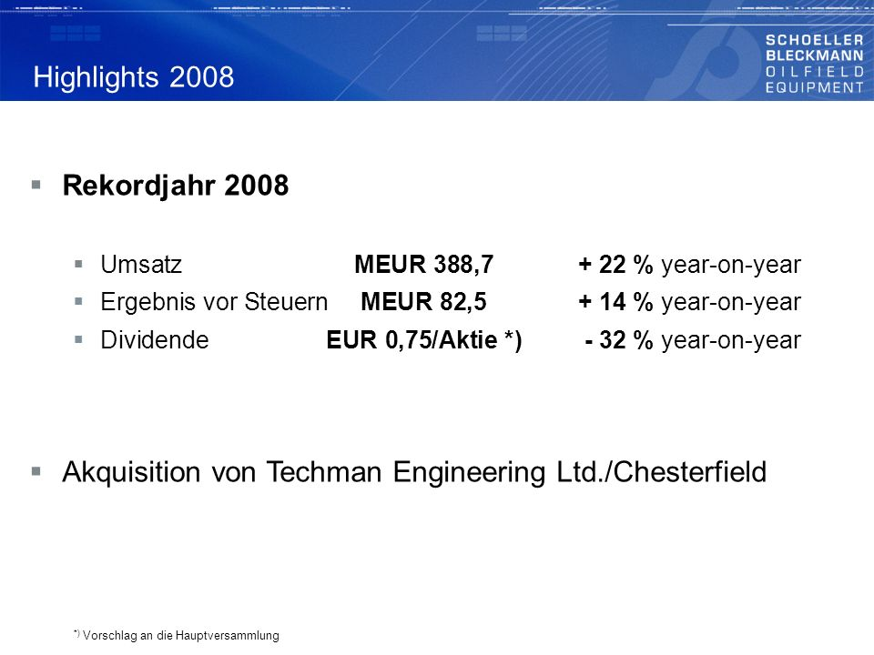 Akquisition von Techman Engineering Ltd./Chesterfield