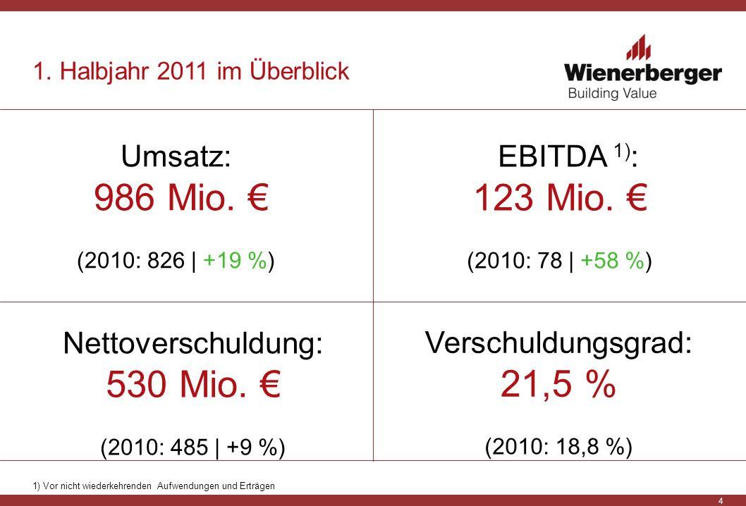Nettoverschuldung: 530 Mio. € (2010: 485 | +9 %)
