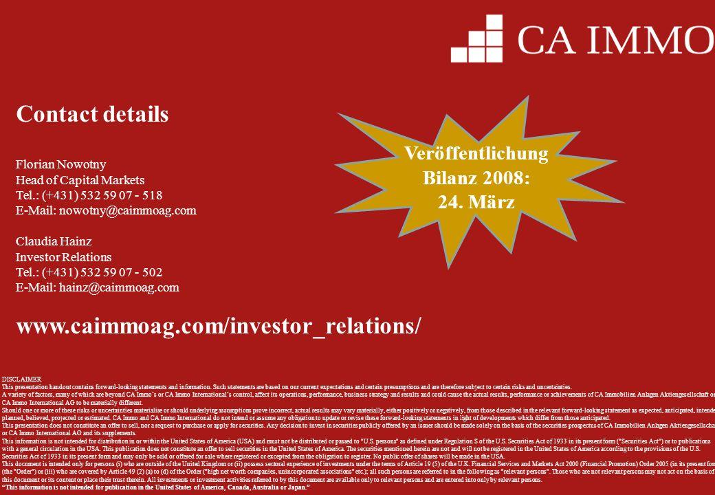 Veröffentlichung Bilanz 2008: 24. März
