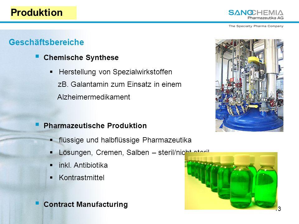 Produktion Geschäftsbereiche Chemische Synthese