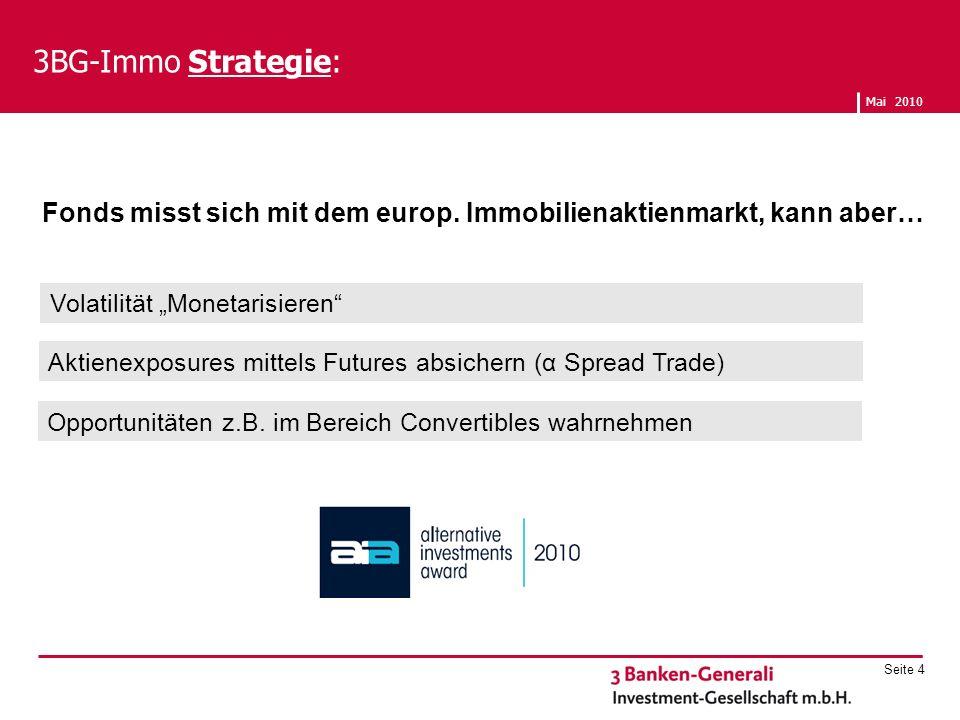 3BG-Immo Strategie: Fonds misst sich mit dem europ. Immobilienaktienmarkt, kann aber… Opportunitäten z.B. im Bereich Convertibles wahrnehmen.