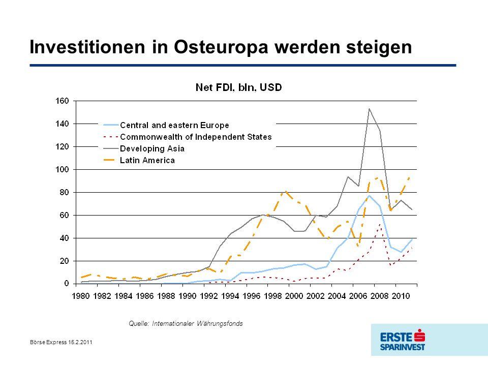 Investitionen in Osteuropa werden steigen