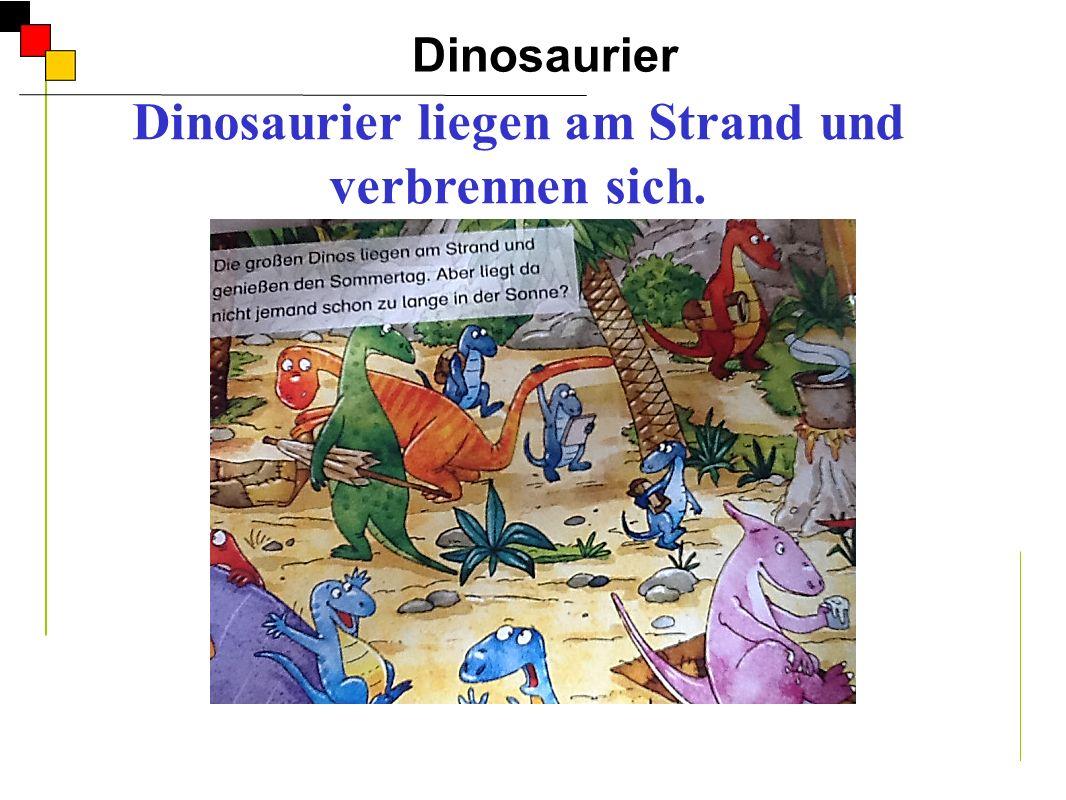 Dinosaurier liegen am Strand und verbrennen sich.