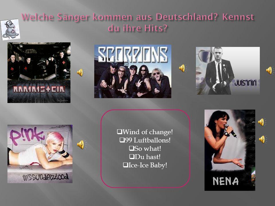 Welche Sänger kommen aus Deutschland Kennst du ihre Hits
