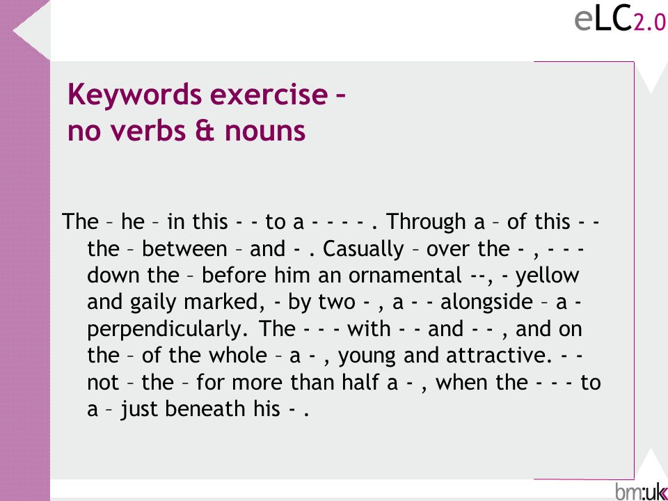 Keywords exercise – no verbs & nouns