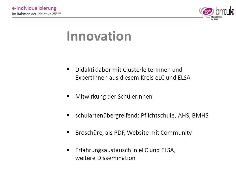 Innovation Didaktiklabor mit ClusterleiterInnen und ExpertInnen aus diesem Kreis eLC und ELSA. Mitwirkung der SchülerInnen.