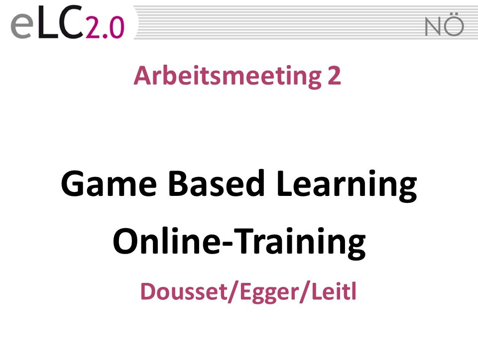 Game Based Learning Online-Training