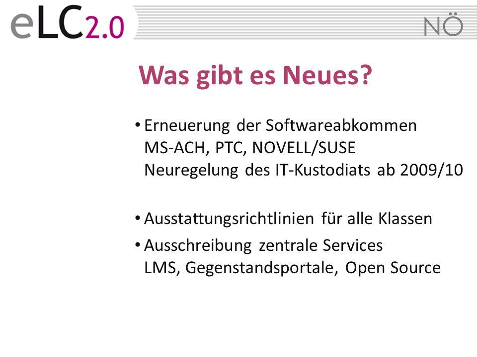 Was gibt es Neues Erneuerung der Softwareabkommen MS-ACH, PTC, NOVELL/SUSE Neuregelung des IT-Kustodiats ab 2009/10.