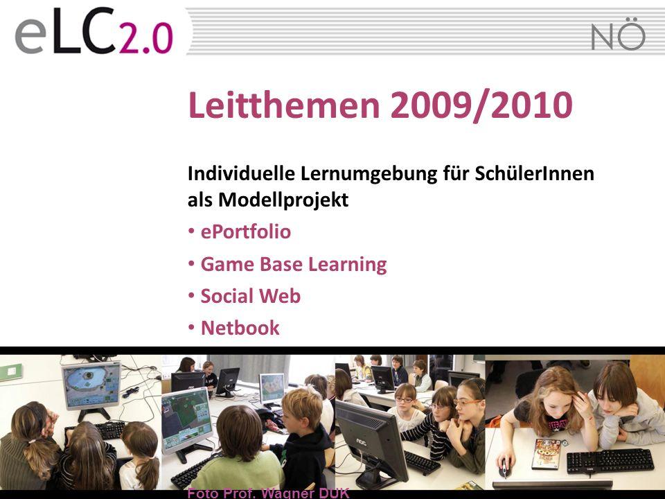 Leitthemen 2009/2010Individuelle Lernumgebung für SchülerInnen als Modellprojekt. ePortfolio. Game Base Learning.