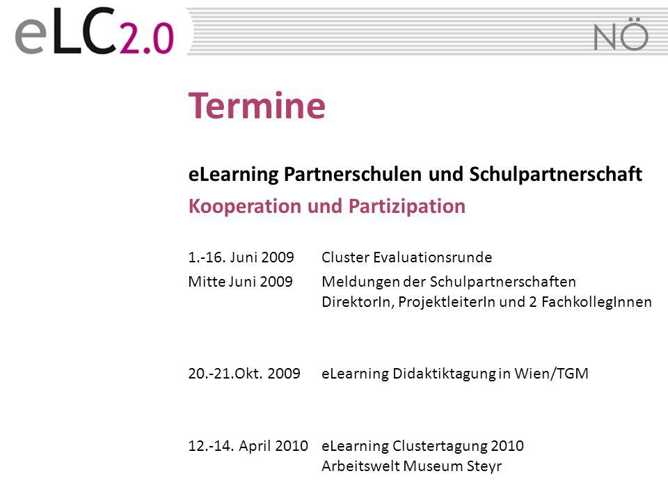 Termine eLearning Partnerschulen und Schulpartnerschaft