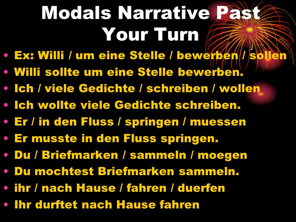 Modals Narrative Past Your Turn