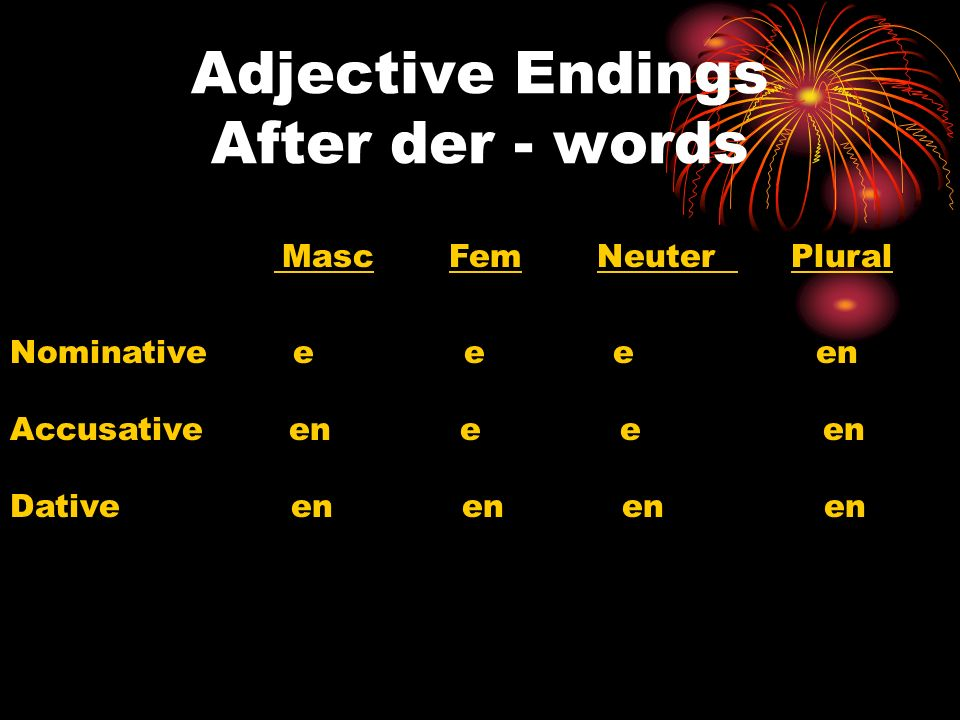 Adjective Endings After der - words