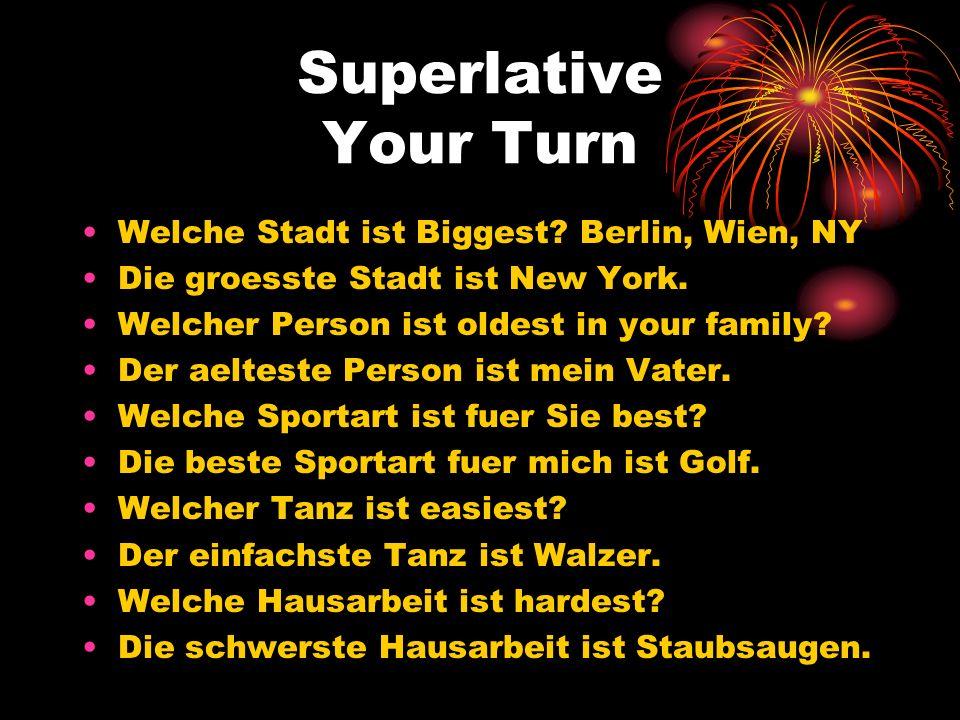 Superlative Your Turn Welche Stadt ist Biggest Berlin, Wien, NY