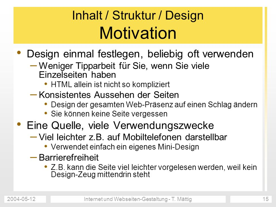Inhalt / Struktur / Design Motivation