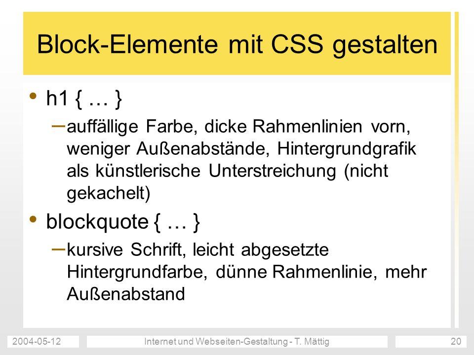 Block-Elemente mit CSS gestalten