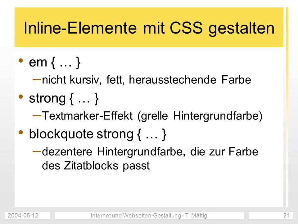 Inline-Elemente mit CSS gestalten