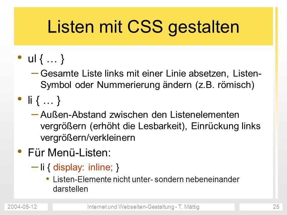 Listen mit CSS gestalten