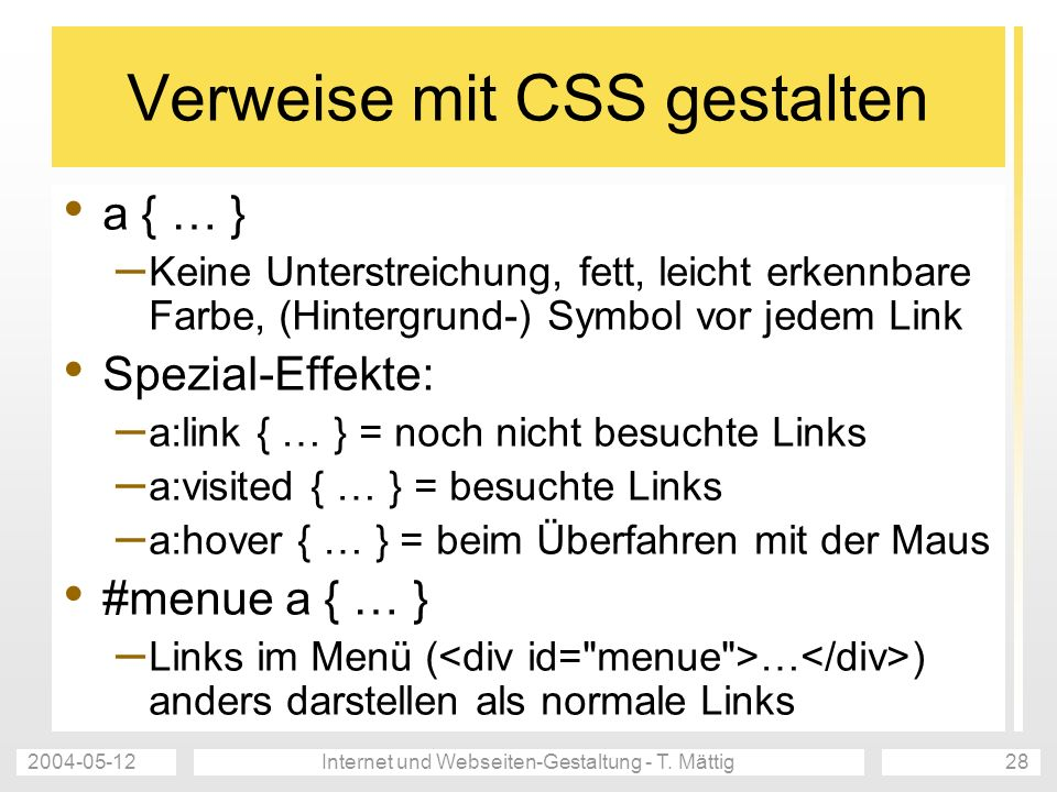 Verweise mit CSS gestalten