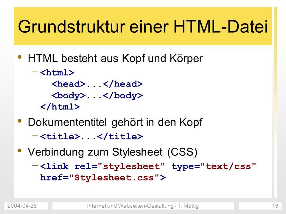 Grundstruktur einer HTML-Datei