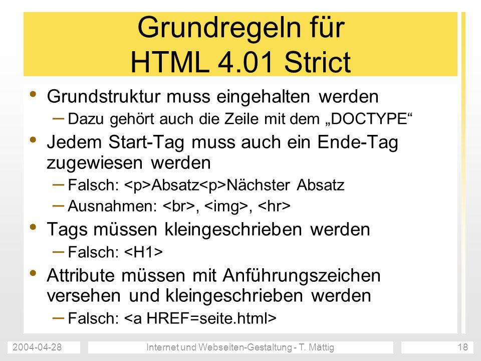 Grundregeln für HTML 4.01 Strict
