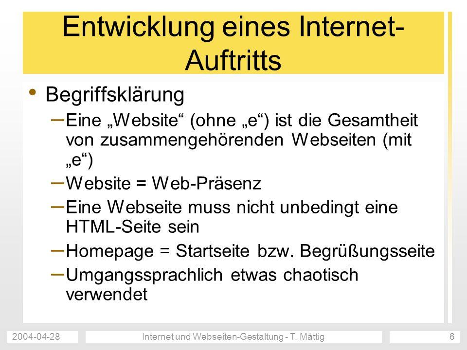 Entwicklung eines Internet-Auftritts