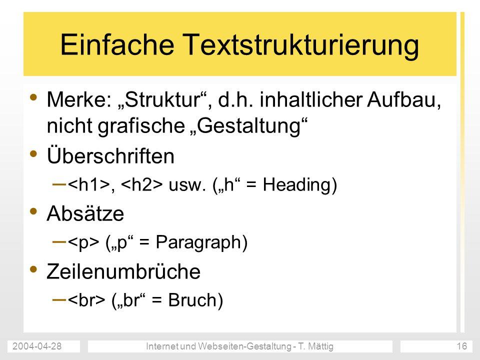 Einfache Textstrukturierung