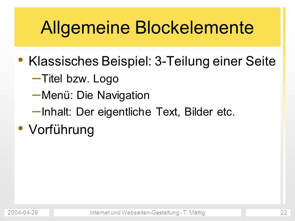 Allgemeine Blockelemente