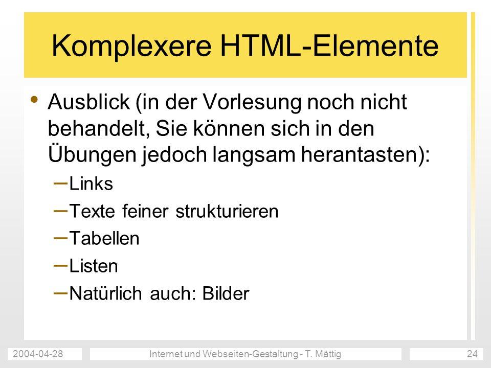 Komplexere HTML-Elemente